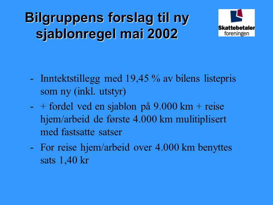Bilgruppens forslag til ny sjablonregel mai 2002