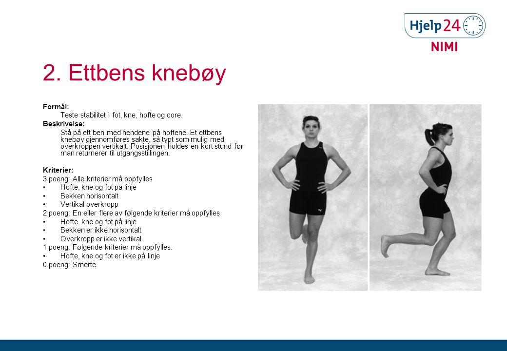 2. Ettbens knebøy Formål: Teste stabilitet i fot, kne, hofte og core.
