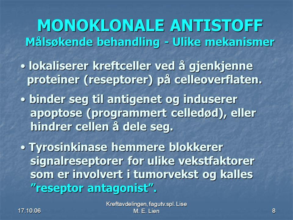 MONOKLONALE ANTISTOFF Målsøkende behandling - Ulike mekanismer