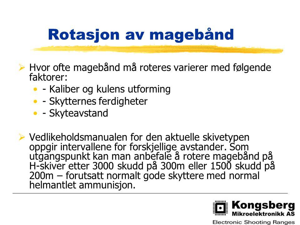 Rotasjon av magebånd Hvor ofte magebånd må roteres varierer med følgende faktorer: - Kaliber og kulens utforming.