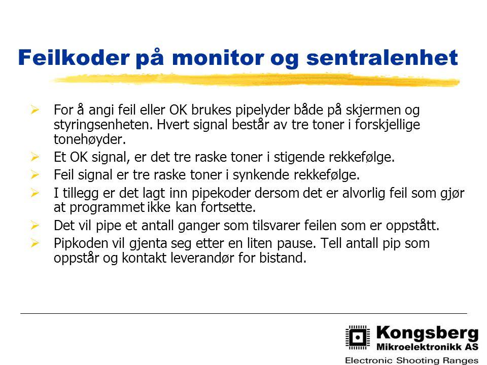 Feilkoder på monitor og sentralenhet