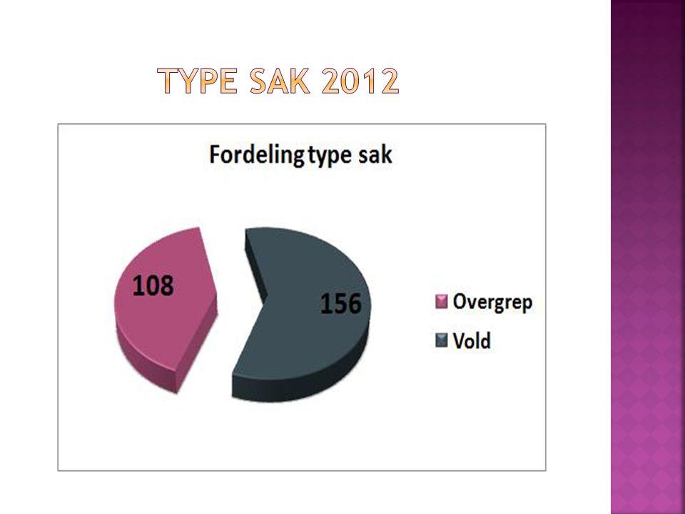 Type sak 2012 I 2012: vold-156/seksuelle overgrep 108