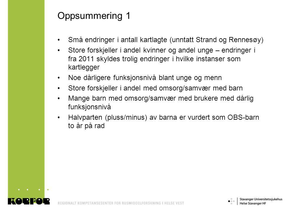 Oppsummering 1 Små endringer i antall kartlagte (unntatt Strand og Rennesøy)