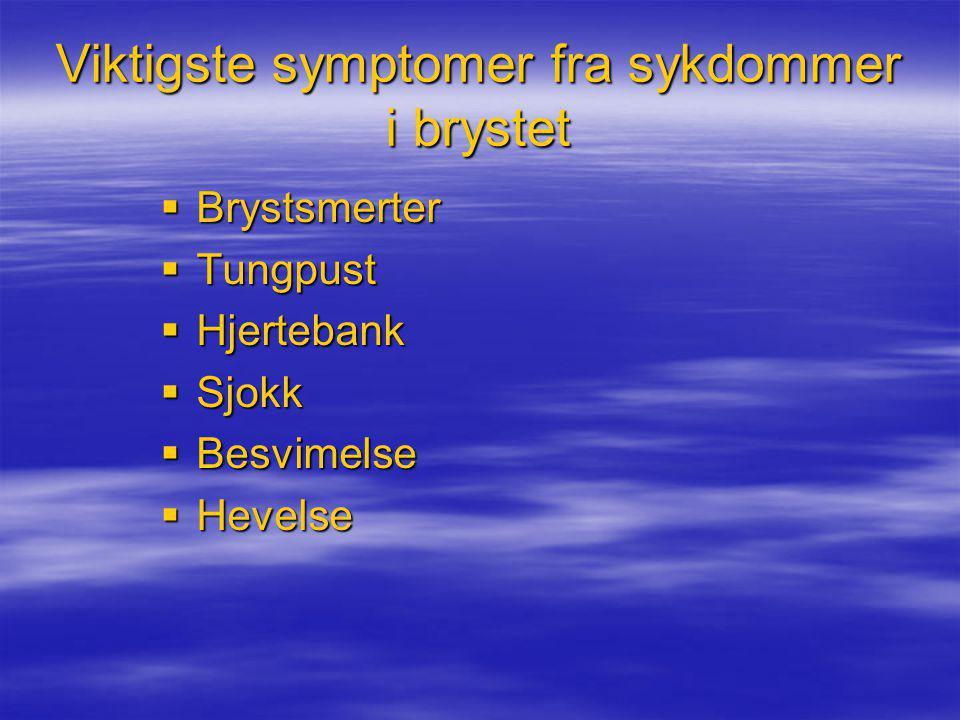 Viktigste symptomer fra sykdommer i brystet