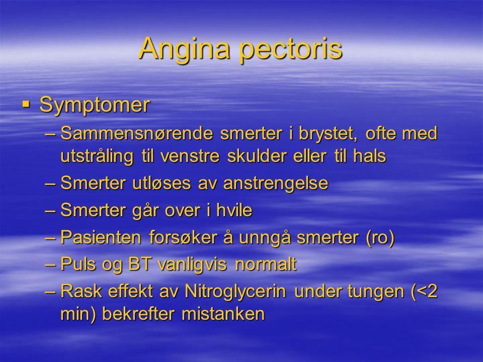 Angina pectoris Symptomer