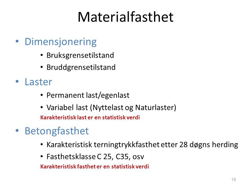Materialfasthet Dimensjonering Laster Betongfasthet