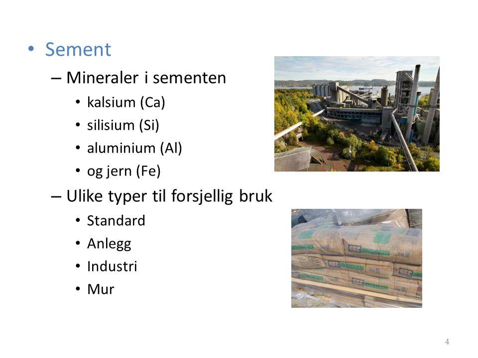 Sement Mineraler i sementen Ulike typer til forsjellig bruk