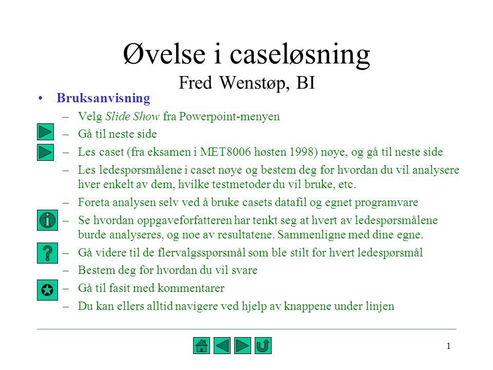 Øvelse i caseløsning Fred Wenstøp, BI