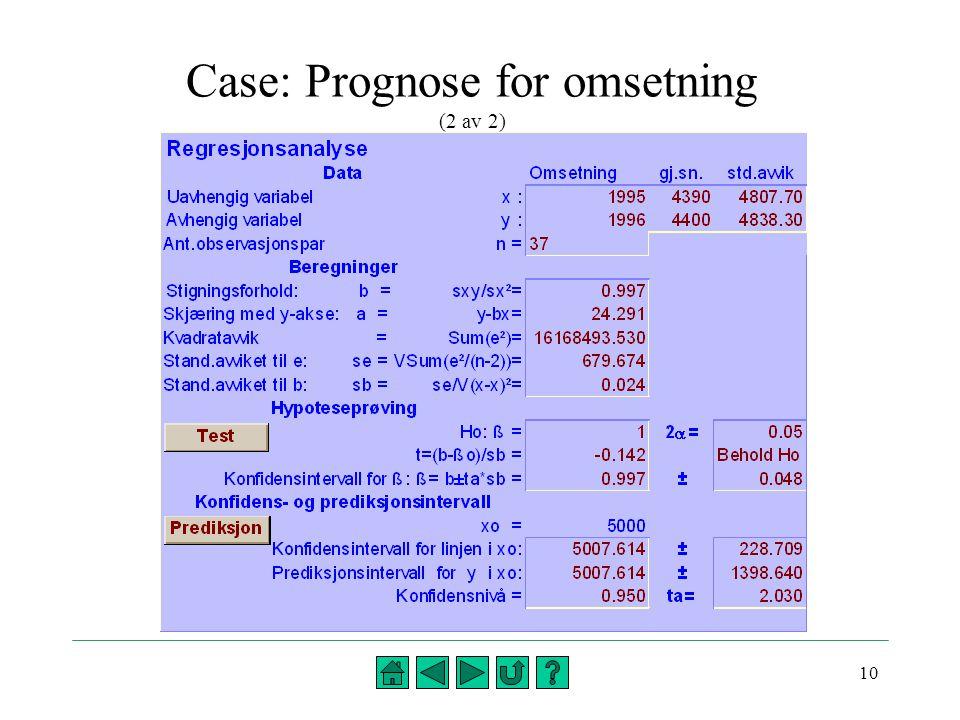 Case: Prognose for omsetning (2 av 2)