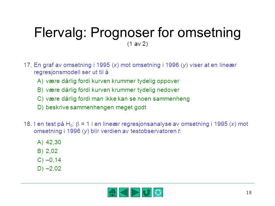 Flervalg: Prognoser for omsetning (1 av 2)