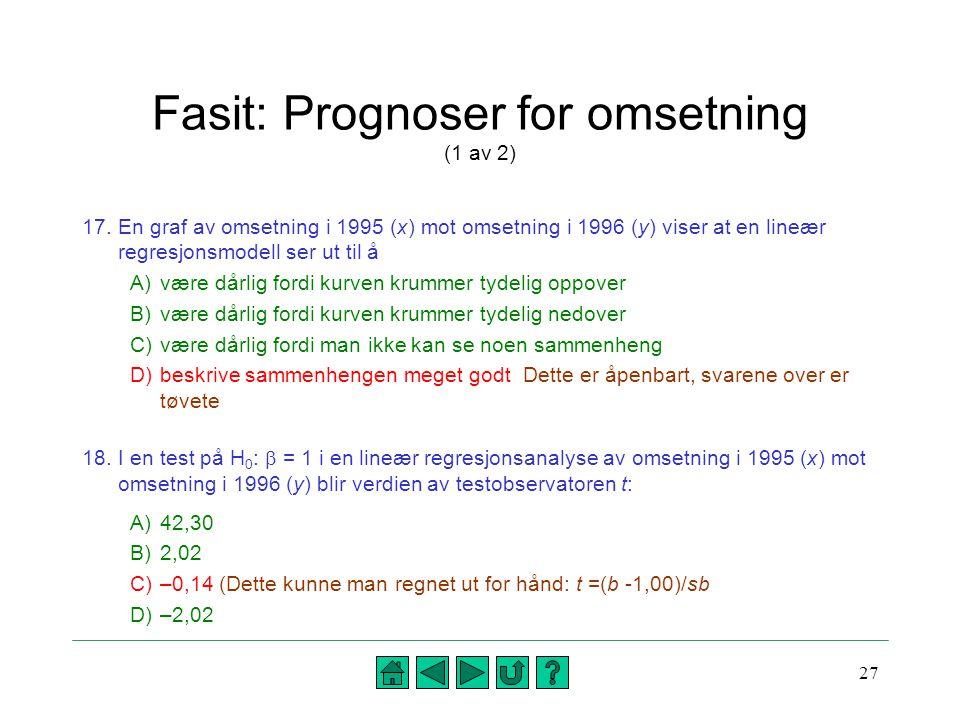 Fasit: Prognoser for omsetning (1 av 2)
