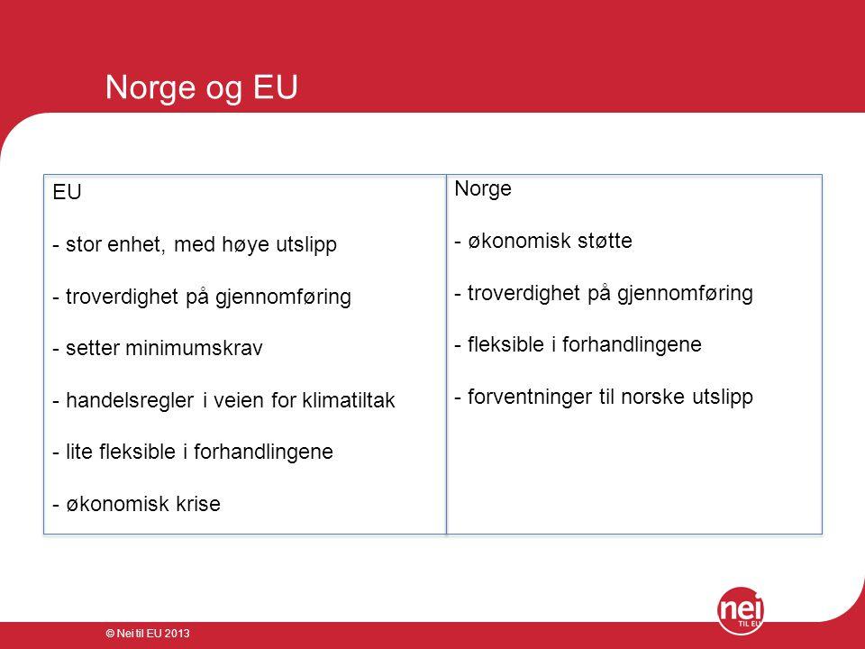 Norge og EU Norge EU økonomisk støtte stor enhet, med høye utslipp