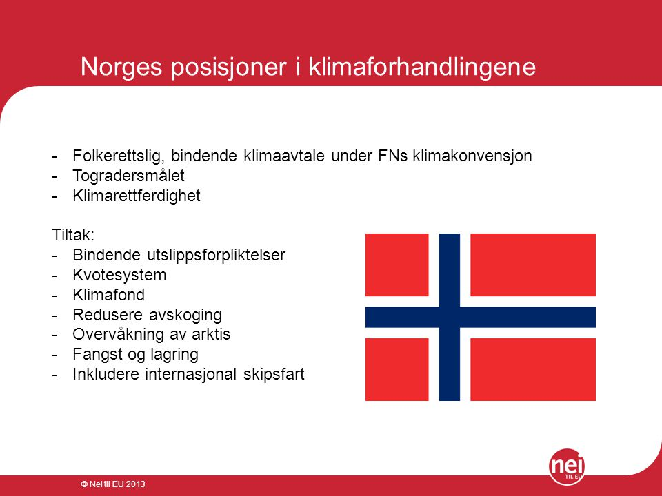 Norges posisjoner i klimaforhandlingene