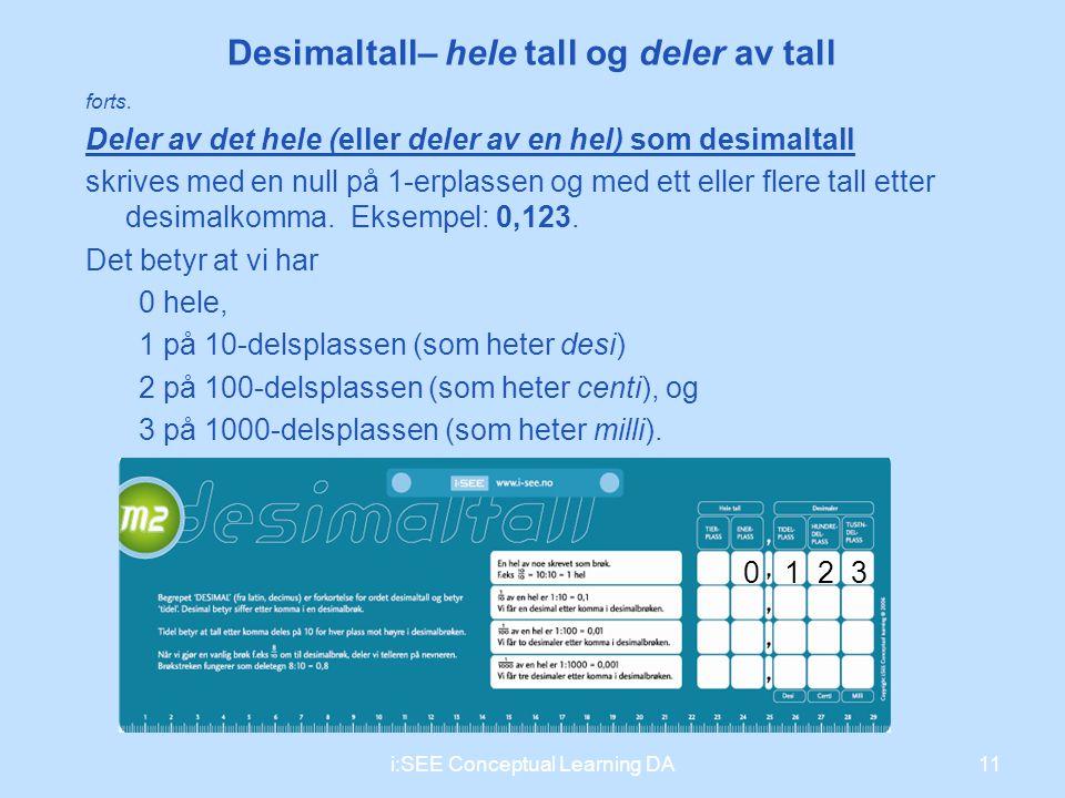 Desimaltall– hele tall og deler av tall