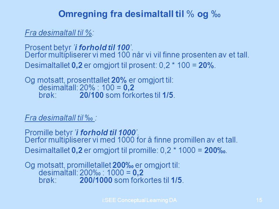 Omregning fra desimaltall til % og ‰