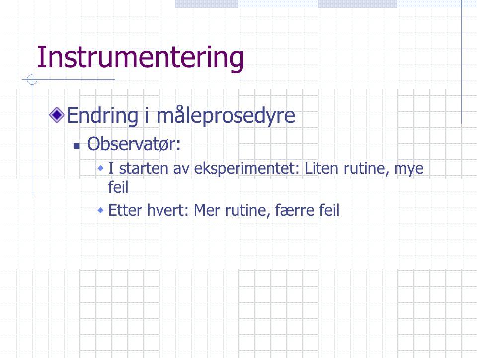 Instrumentering Endring i måleprosedyre Observatør: