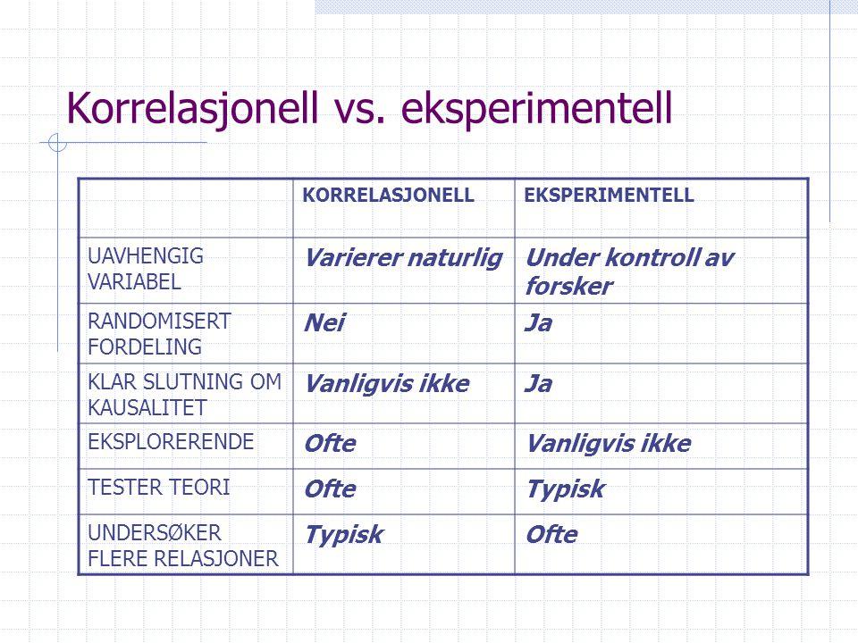 Korrelasjonell vs. eksperimentell