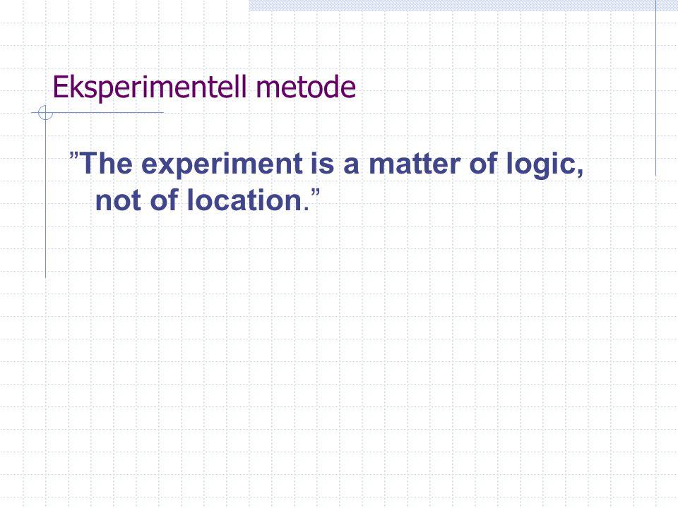 Eksperimentell metode