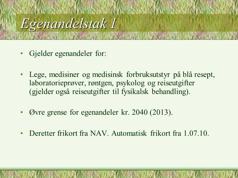 Egenandelstak 1 Gjelder egenandeler for:
