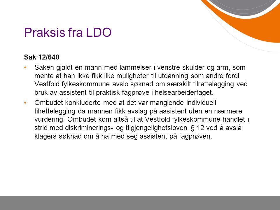 Praksis fra LDO Sak 12/640.