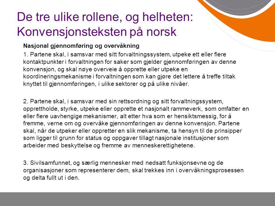 De tre ulike rollene, og helheten: Konvensjonsteksten på norsk