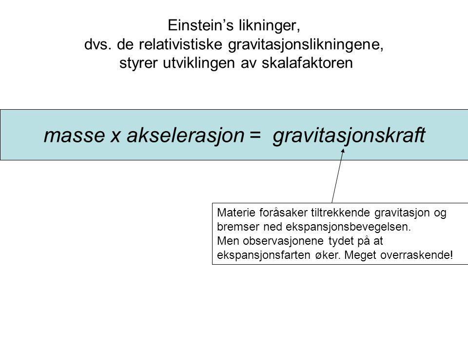 masse x akselerasjon = gravitasjonskraft