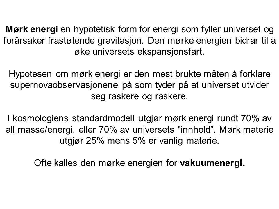 Ofte kalles den mørke energien for vakuumenergi.
