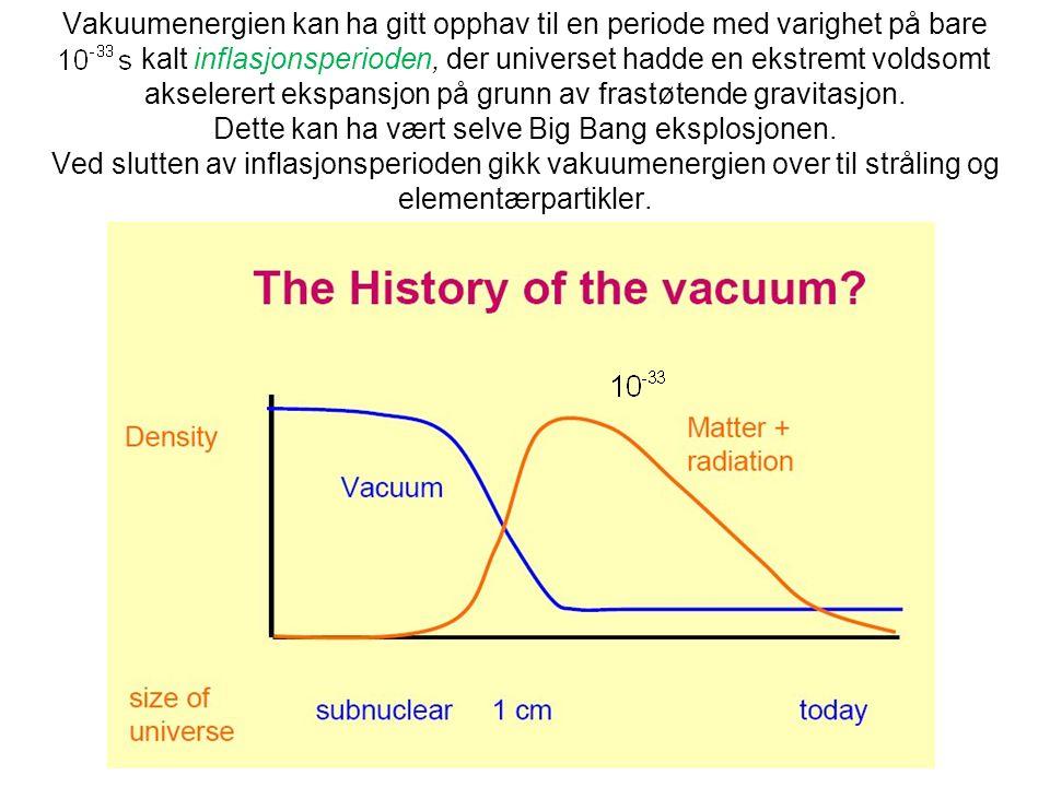 Vakuumenergien kan ha gitt opphav til en periode med varighet på bare kalt inflasjonsperioden, der universet hadde en ekstremt voldsomt akselerert ekspansjon på grunn av frastøtende gravitasjon.