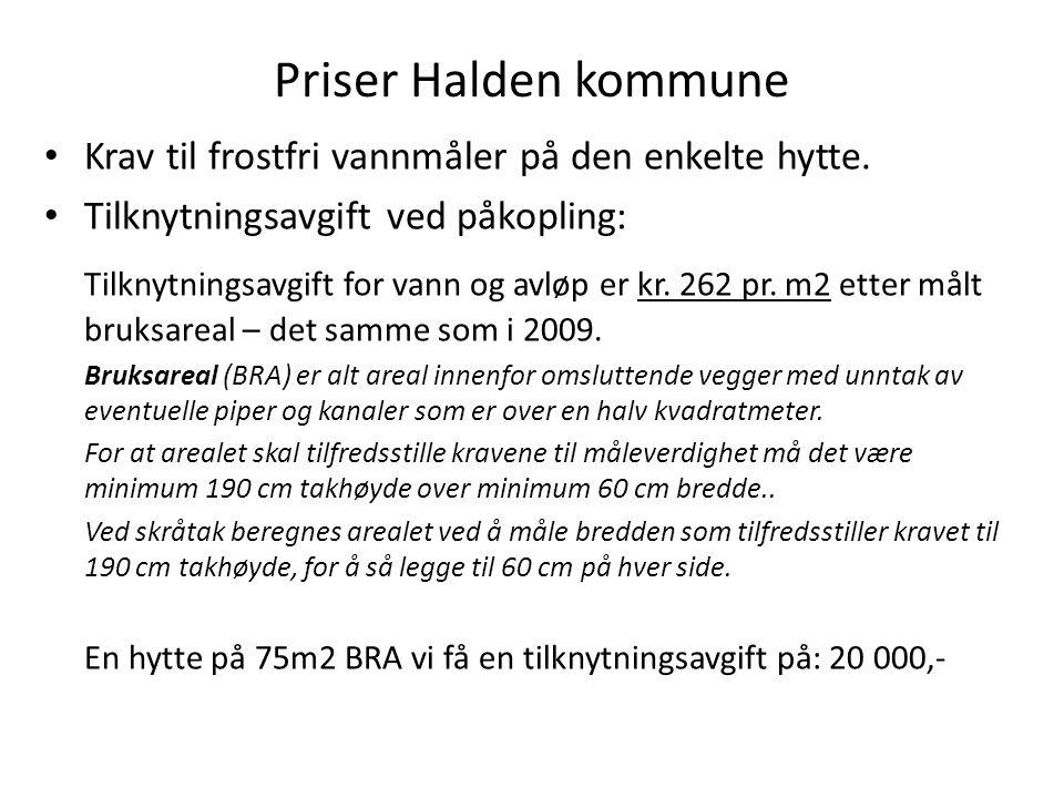 Priser Halden kommune Krav til frostfri vannmåler på den enkelte hytte. Tilknytningsavgift ved påkopling: