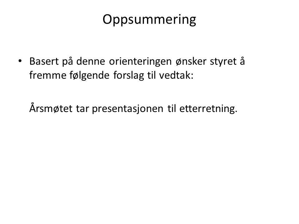 Oppsummering Basert på denne orienteringen ønsker styret å fremme følgende forslag til vedtak: Årsmøtet tar presentasjonen til etterretning.