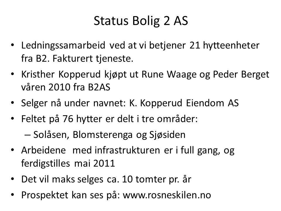 Status Bolig 2 AS Ledningssamarbeid ved at vi betjener 21 hytteenheter fra B2. Fakturert tjeneste.