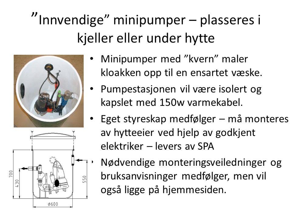 Innvendige minipumper – plasseres i kjeller eller under hytte