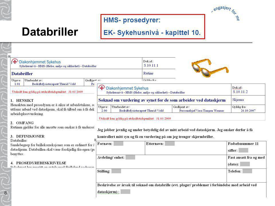 HMS- prosedyrer: EK- Sykehusnivå - kapittel 10. Databriller