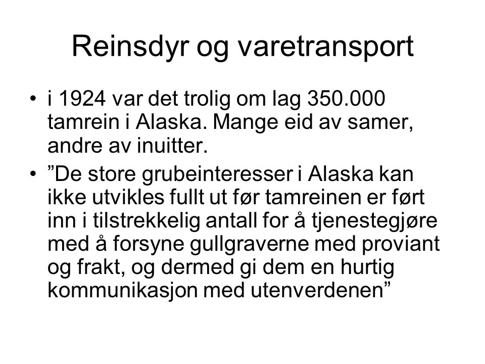 Reinsdyr og varetransport