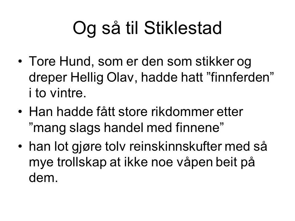 Og så til Stiklestad Tore Hund, som er den som stikker og dreper Hellig Olav, hadde hatt finnferden i to vintre.