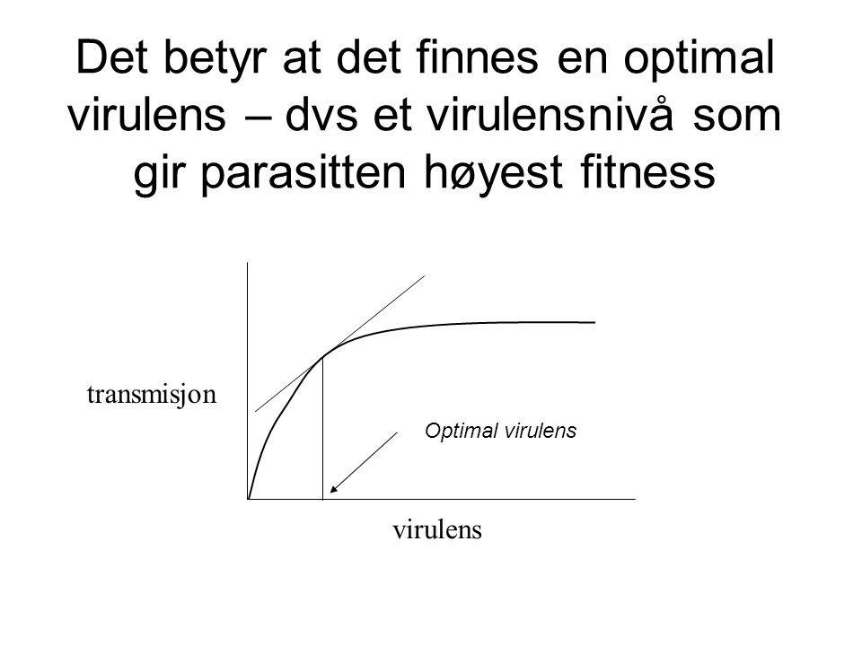 Det betyr at det finnes en optimal virulens – dvs et virulensnivå som gir parasitten høyest fitness