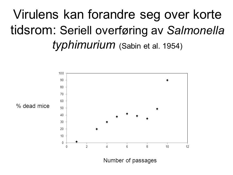 Virulens kan forandre seg over korte tidsrom: Seriell overføring av Salmonella typhimurium (Sabin et al. 1954)