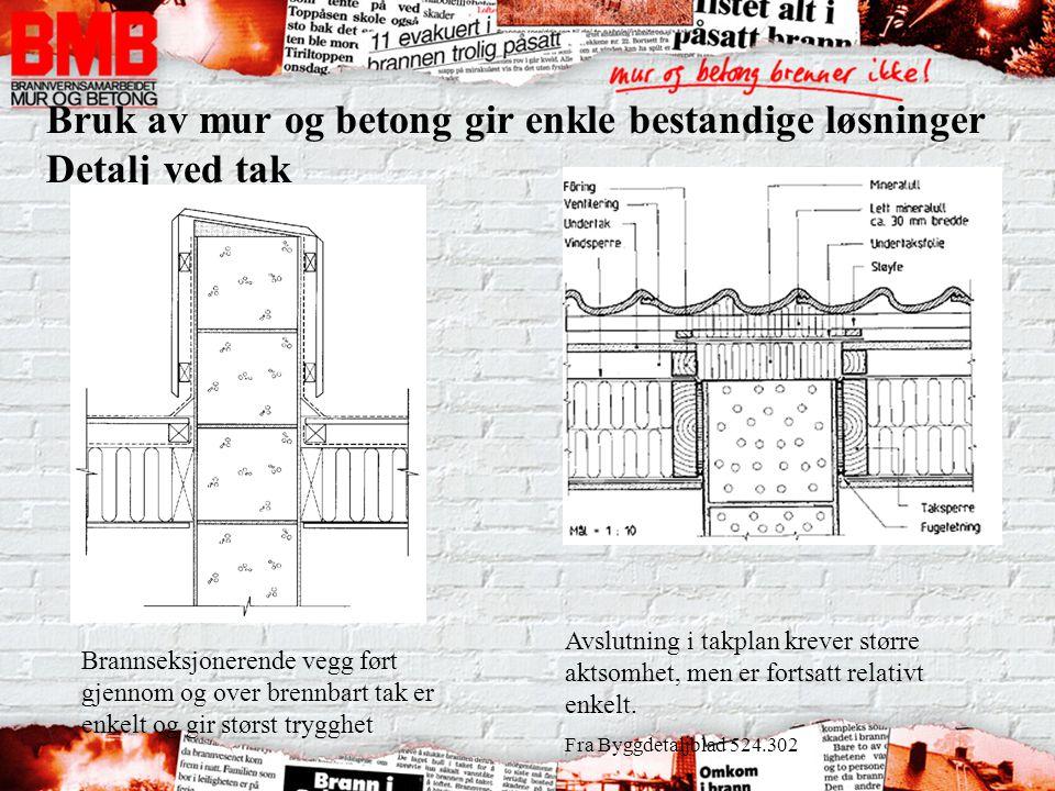 Bruk av mur og betong gir enkle bestandige løsninger Detalj ved tak