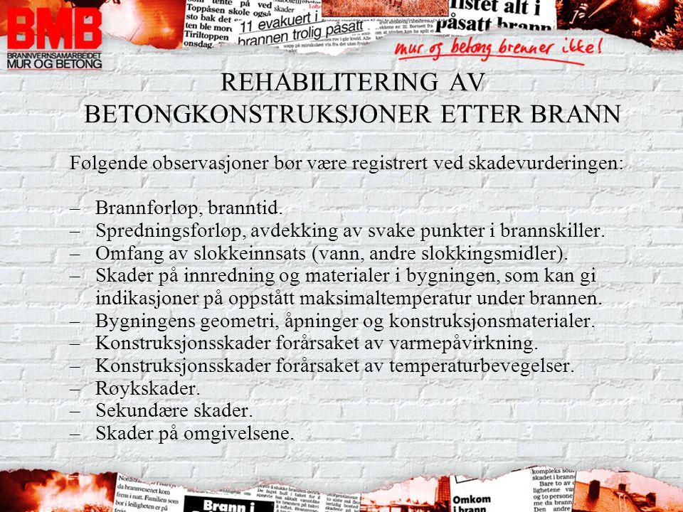 REHABILITERING AV BETONGKONSTRUKSJONER ETTER BRANN