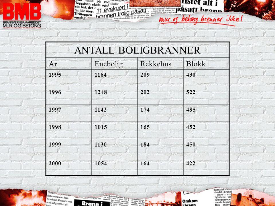ANTALL BOLIGBRANNER År Enebolig Rekkehus Blokk 1995 1164 209 430 1996