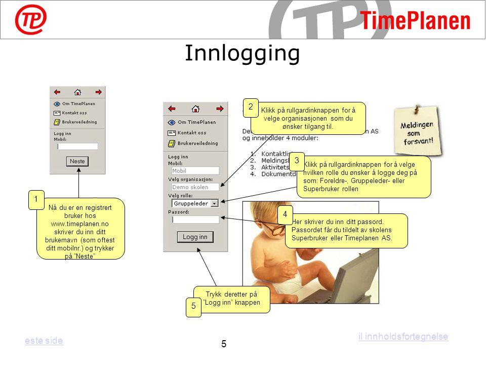 Innlogging il innholdsfortegnelse este side 5 2 3 1. 4 5