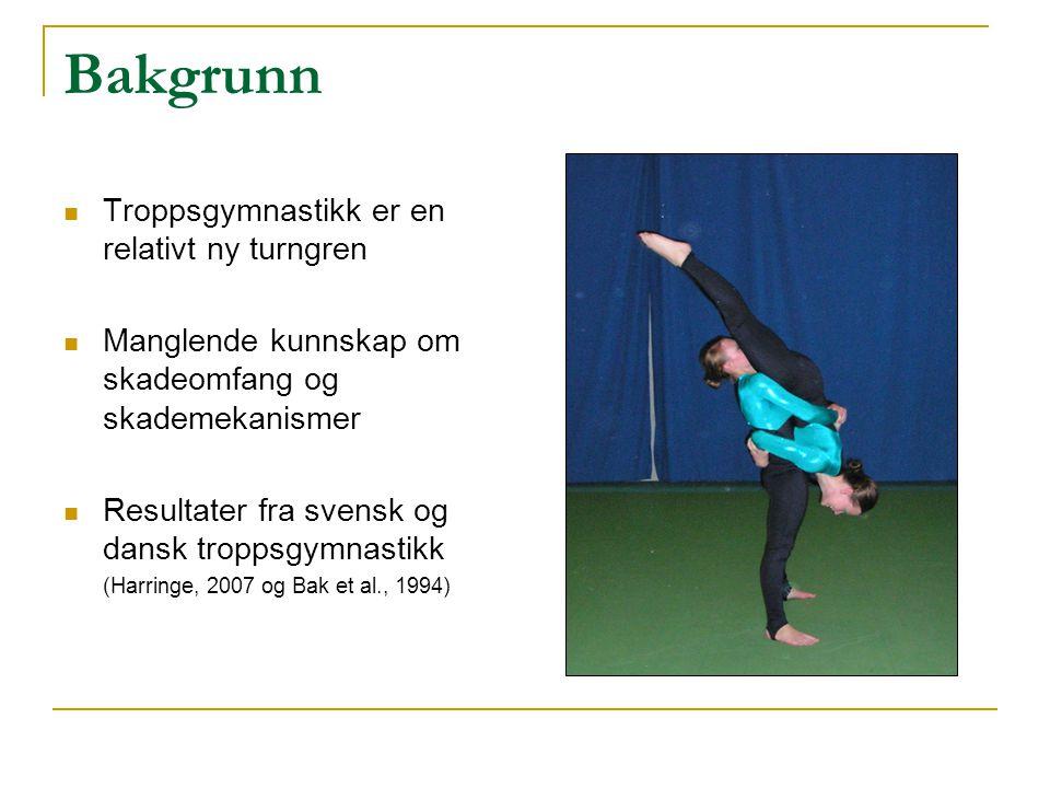Problemstillinger Hvor stort er skadeomfanget i norsk troppsgymnastikk Når inntreffer skader i troppsgymnastikk