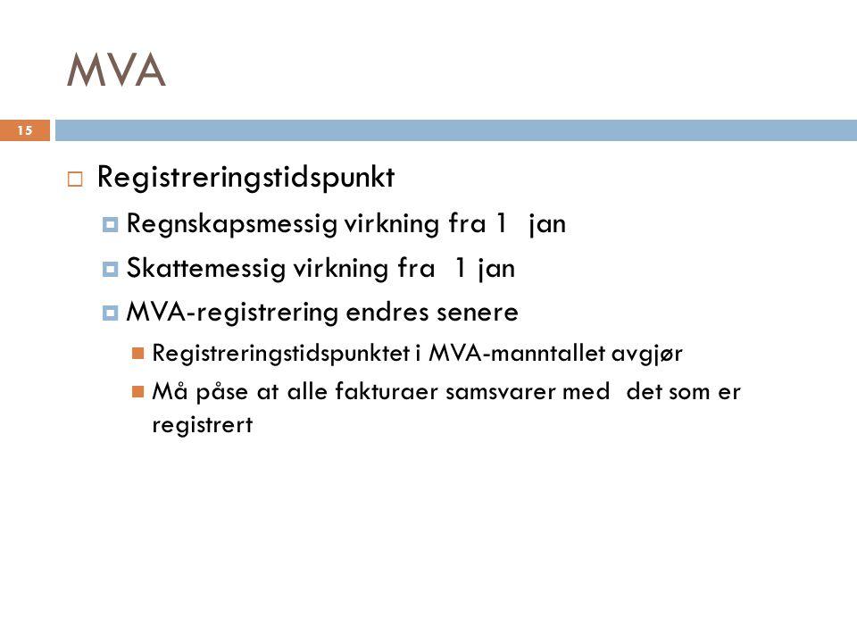 MVA Registreringstidspunkt Regnskapsmessig virkning fra 1 jan