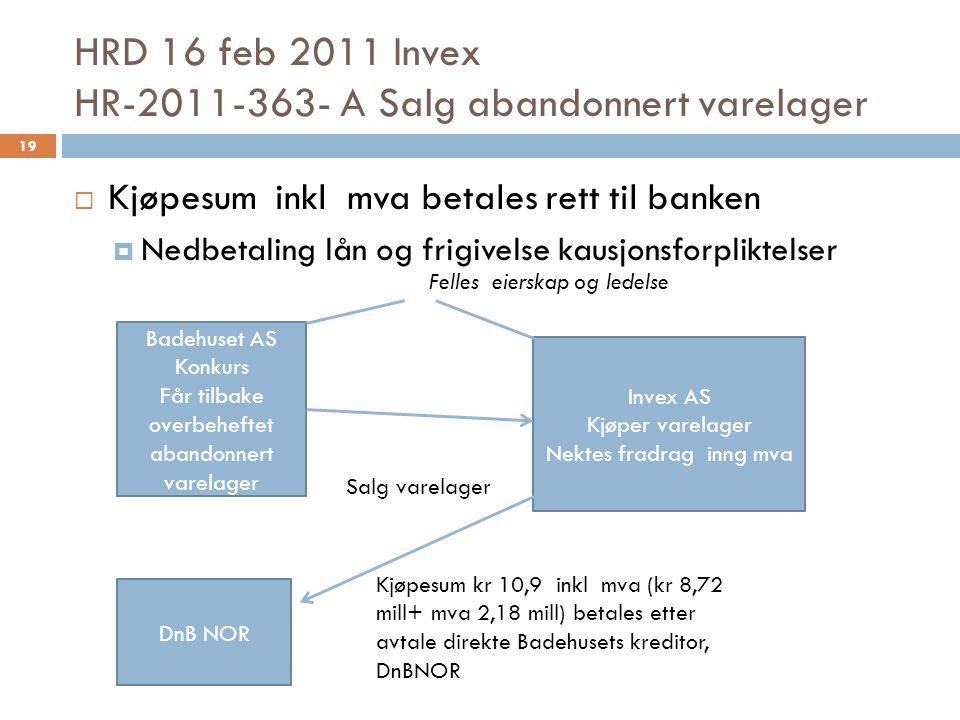 HRD 16 feb 2011 Invex HR-2011-363- A Salg abandonnert varelager