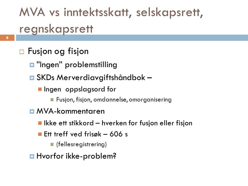 MVA vs inntektsskatt, selskapsrett, regnskapsrett