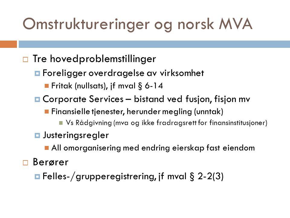 Omstruktureringer og norsk MVA