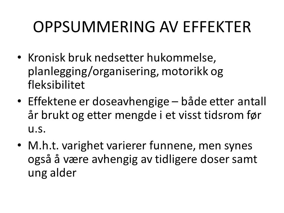 OPPSUMMERING AV EFFEKTER