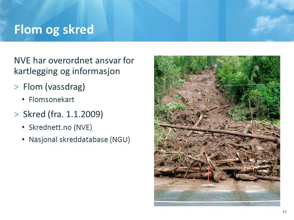 Flom og skred NVE har overordnet ansvar for kartlegging og informasjon