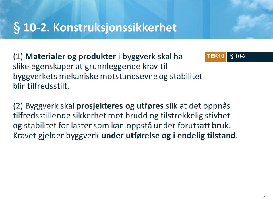 § 10-2. Konstruksjonssikkerhet