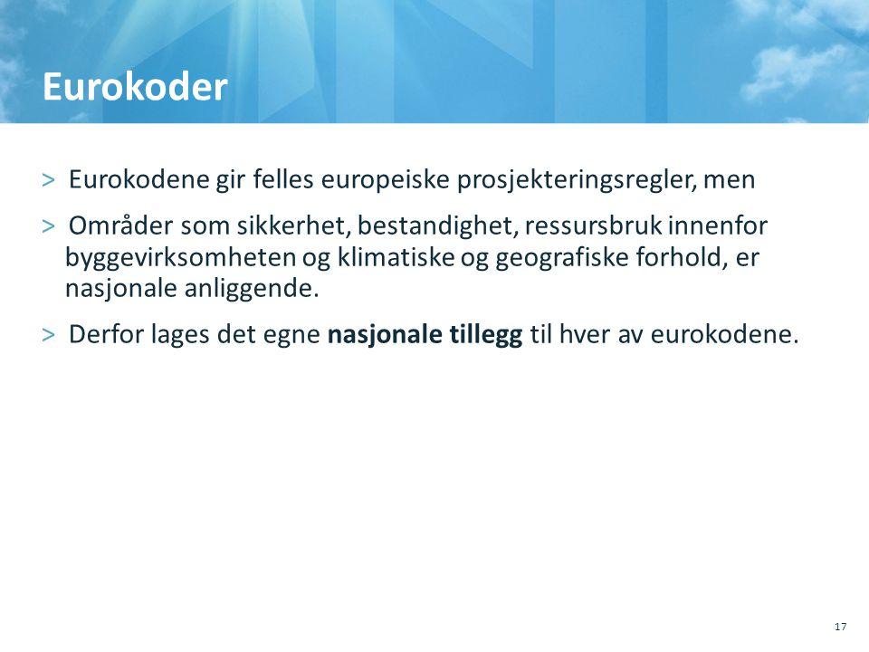 Eurokoder Eurokodene gir felles europeiske prosjekteringsregler, men